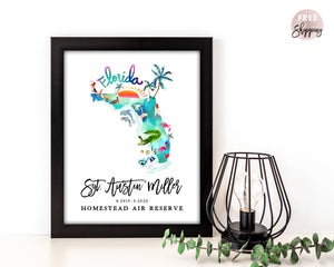 Personalized Florida Map by Sara Franklin, Map Your Military Journey