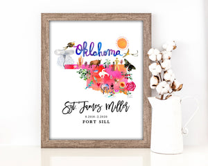Personalized Oklahoma Map by Sara Franklin, Map Your Military Journey