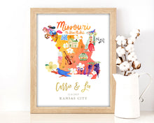 Load image into Gallery viewer, Personalized Missouri Wedding Map by Sara Franklin