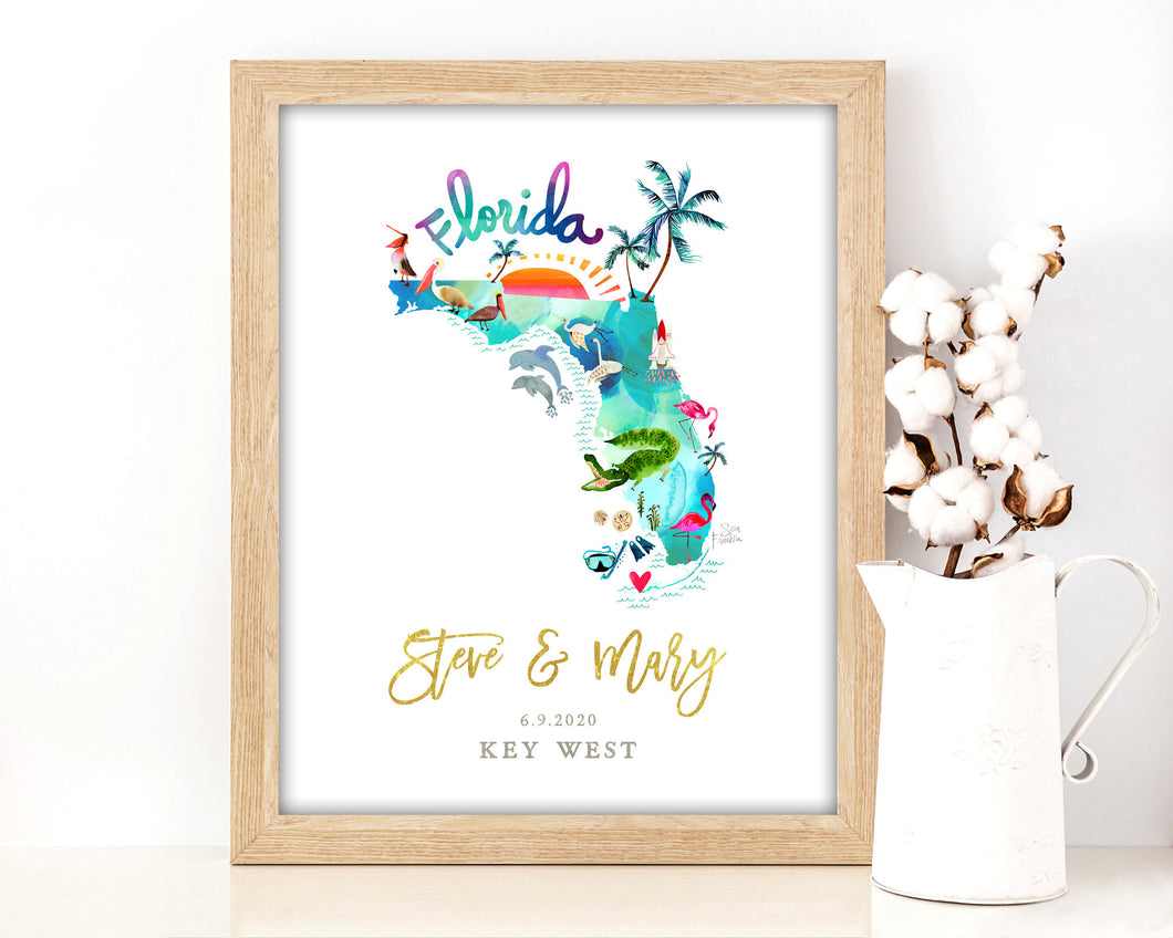 Personalized Florida Wedding Map by Sara Franklin