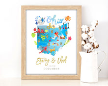 Load image into Gallery viewer, Personalized Ohio Wedding Map by Sara Franklin