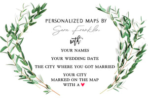 Personalized North Carolina Wedding Map by Sara Franklin