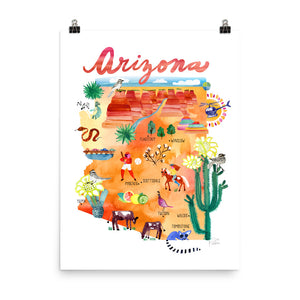 Arizona Map Poster by Sara Franklin