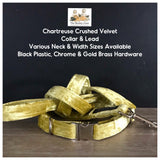 chartreuse crushed velvet dog collar and lead