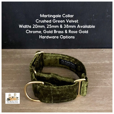 Martingale Collar - Crushed Velvet Green