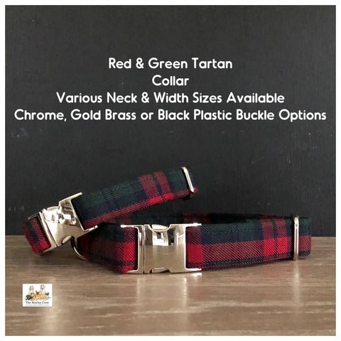 Red & Green Tartan Dog Collars, Leads & Accessories
