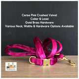 cerise pink crushed velvet dog collar and lead in gold brass hardware