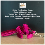 cerise pink crushed velvet dog collar and lead
