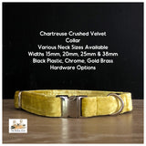 Chartreuse Crushed Velvet Dog Collars, Leads & Accessories