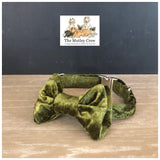green crushed velvet dog collar and bowtie