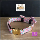betsy ann pink fabric collar and velcro dog bowtie