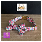 Liberty London Betsy Ann Pink Fabric Dog collar and bowtie
