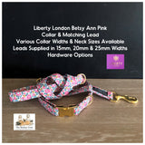 Liberty London Betsy Ann Pink Fabric Dog Collar & lead