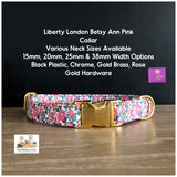 Liberty London Betsy Ann Pink Fabric Dog Collar