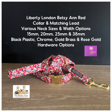 Liberty London Betsy Ann Fabric Dog Collar & Matching lead