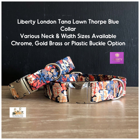 liberty london blue thorpe tana lawn fabric dog collar