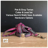 Pink & Grey Tartan Dog Collars, Leads & Accessories