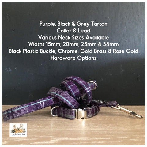 Purple, Black & Grey Tartan Dog Collars, Leads & Accessories