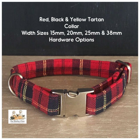 red black and yellow tartan dog collar