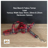 red black and yellow tartan dog lead