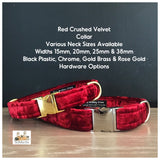 red crushed velvet dog collar