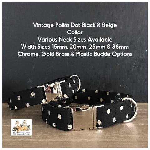 vintage polka dot black & beige collar
