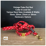 vintage polka dot red collar and lead