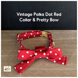 vintage polka dot red dog collar and pretty bow