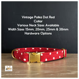 vintage polka dot red dog collar