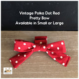 vintage polka dot red dog pretty bow