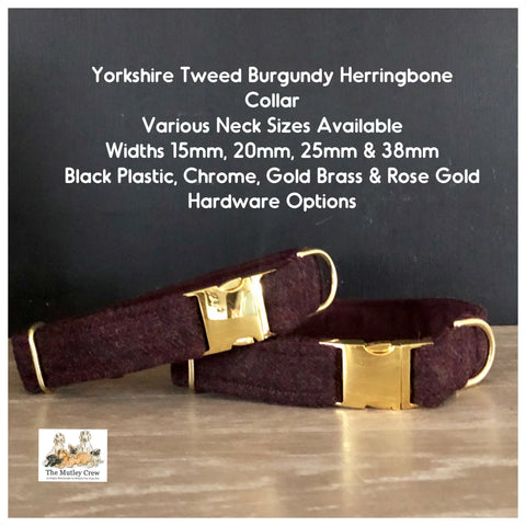 yorkshire tweed burgundy herringbone dog collar