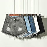 Distressed Stone Wash Shorts