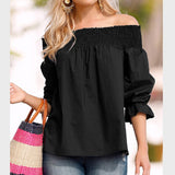 Solid Off the Shoulder Puff Blouse