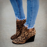 Charlie Leopard Wedge Booties