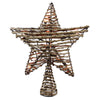 "11.5"" Natural Brown Star Christmas Tree Topper - Clear Lights"