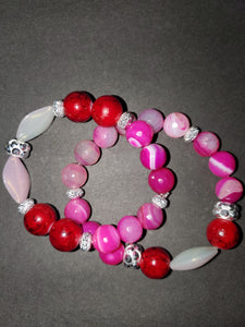 Fading red stack (2) bracelet set