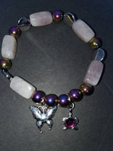 Load image into Gallery viewer, Rose quartz and rainbow Hematite stone butterfly bracelet