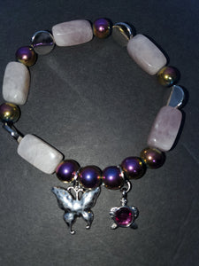 Rose quartz and rainbow Hematite stone butterfly bracelet