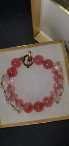 15 Cherry quartz stone 24k accent Bracelet