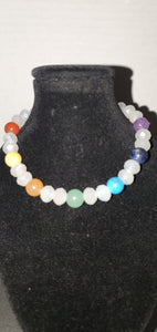 Chakara semiprecious stone and white crystal bracelet