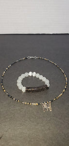 Princess seedbead necklace and cats eye bracelet