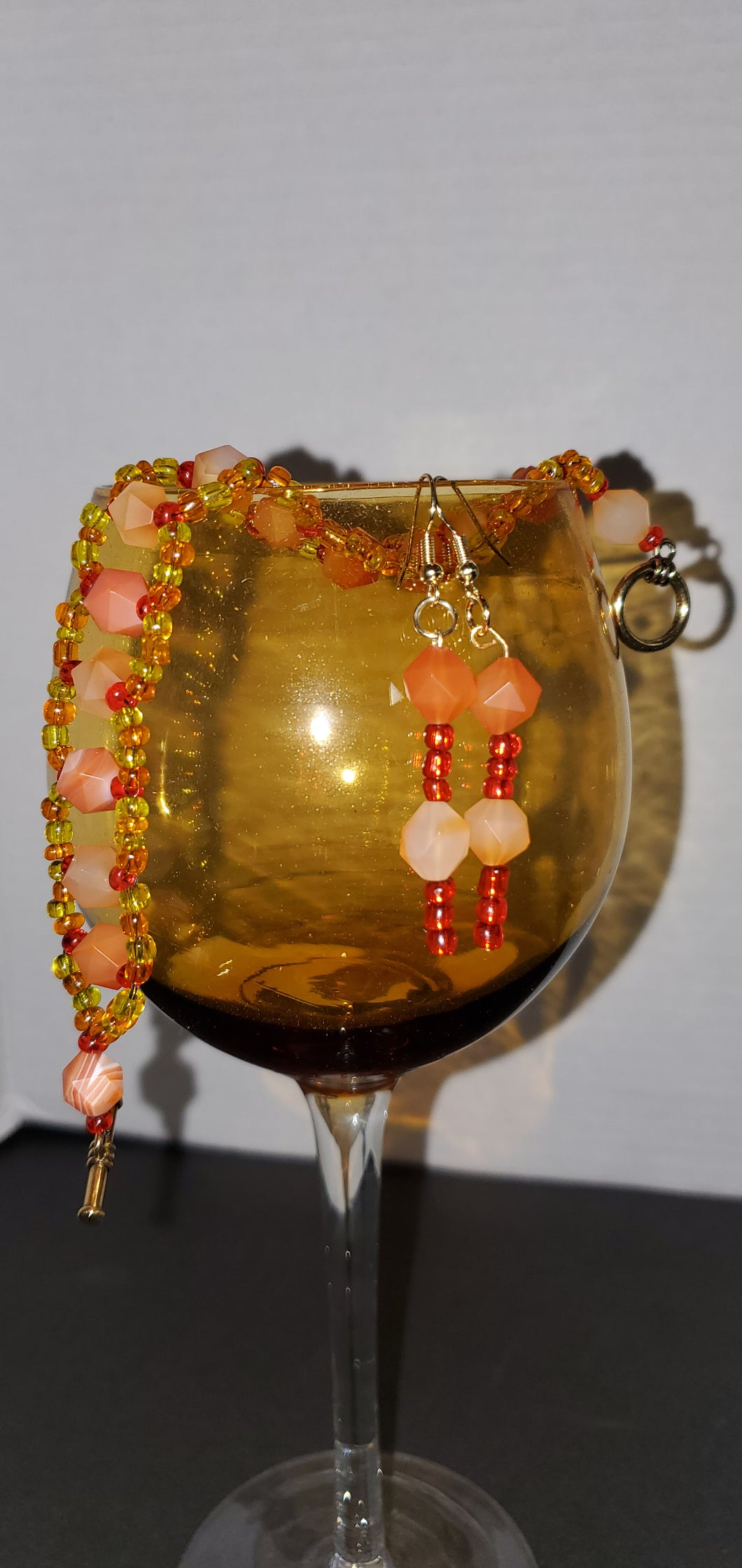 Semiprecious stone Raw Agate bracelet and matching earrings