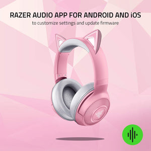 Razer Kraken Bluetooth Kitty Edition Gaming Headset - Powered by Razer Chroma - Quartz Pink