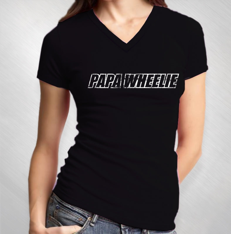 PAPA WHEELIE - WOMEN'S BLACK LOGO V-NECK TEE
