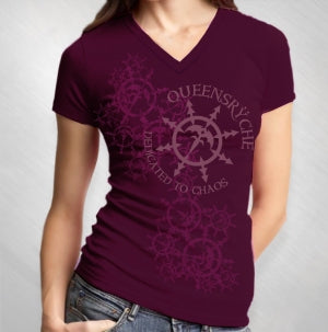 QUEENSRYCHE - WOMEN'S SNOWFLAKE PLUM V-NECK
