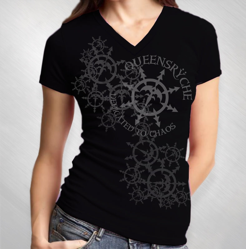 Women's Snowflake Black V-Neck