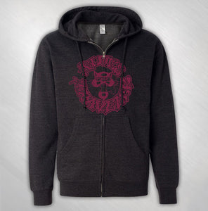 Men's Charcoal Circle Cat Zip Hoodie
