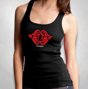 Women's Black Tank- Lips