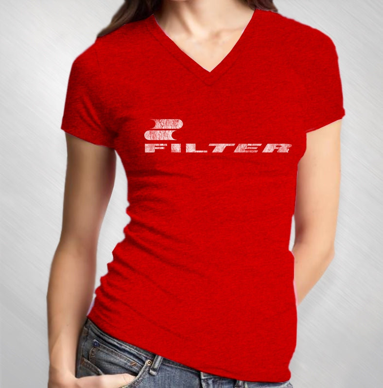 Women's Red Vintage Logo V-Neck