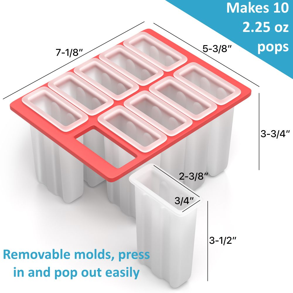 American Ice Pop Maker - Frozen Popsicle Mold - 10 Pops + 50 Wood Sticks + Brush